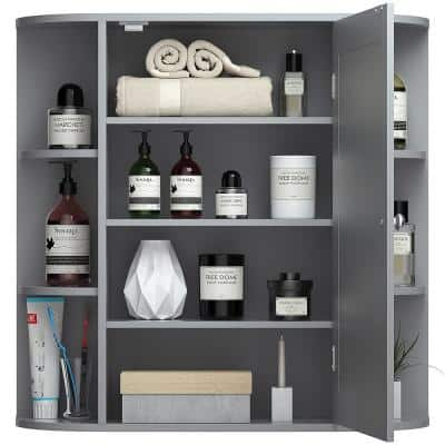 6.5 in. x 25 in. x 26 in. Gray Multipurpose Wall Surface Mount Bathroom Storage Medicine Cabinet with Mirror