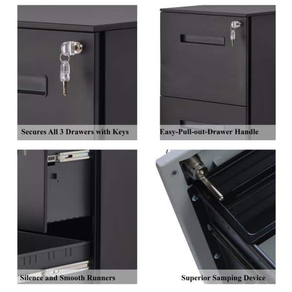 Black Metal Filing Cabinet Legal//Letter Size Fully Assembled Except Wheels 2 Drawer Mobile File Cabinet with Lock