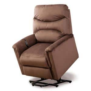 Light Brown Powel Lift Recliner Chair with Remote Control for Elderly, Heavy Duty and Soft Fabric Sofa for Living Room
