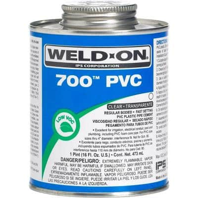 700 PVC Solvent Cement, Clear, Low VOC, High Strength, Regular Bodied, Fast Setting, 1 Pint (16 Fl. Oz.)