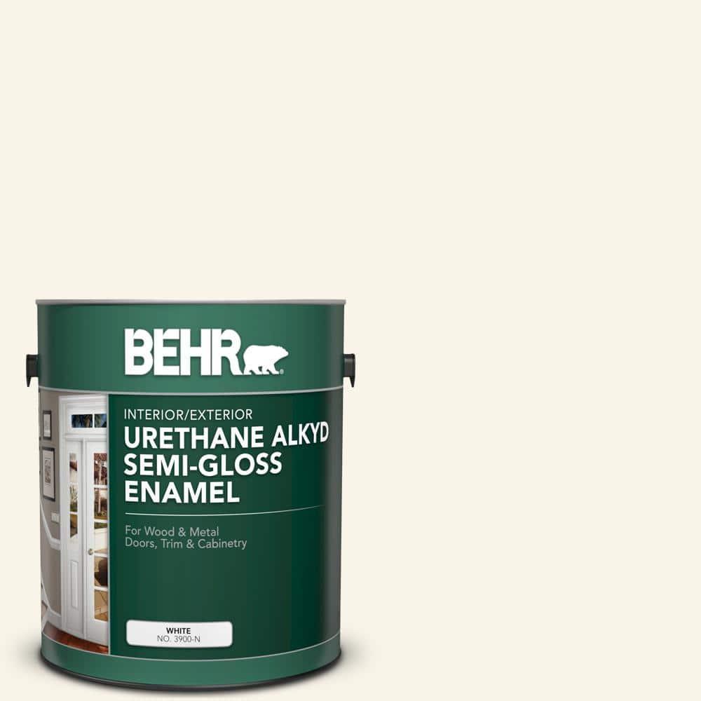 Behr 1 Gal W D 200 Pot Of Cream Urethane Alkyd Semi Gloss Enamel Interior Exterior Paint 390001 The Home Depot