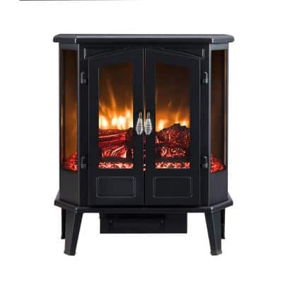 25 in. 1000 sq. ft. Black 5-Sided Infrared Electric Stove