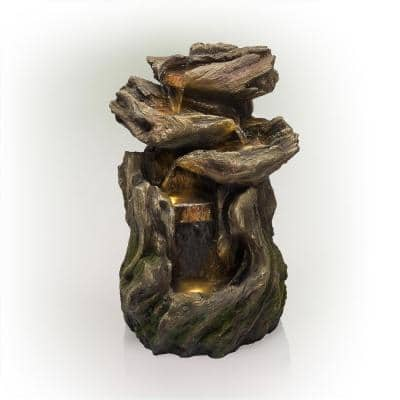 22 in. Tall Outdoor Four-Tier Rainforest Log Waterfall Fountain with LED Lights