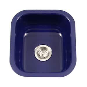 Porcela Series Undermount Porcelain Enamel Steel 16 in. Single Bowl Kitchen Sink in Navy Blue