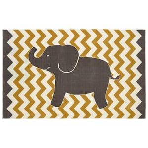 Lucky Elephant Yellow 5 ft. x 8 ft. Whimsical Area Rug