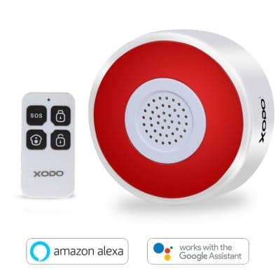 Smart Alarm Gateway with Remote Control/App Control WiFi Wireless Siren Alarm with Strobe LED Flashing for Home Caring