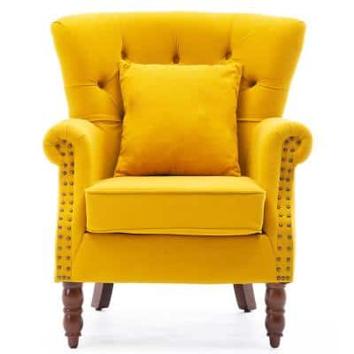 Yellow Modern Upholstered Accent Armchair Button-Tufted Nailhead Trim Wingback Chair