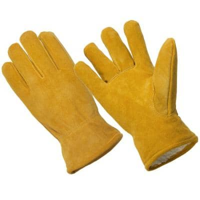 Men's Premium Cow Suede Leather Driver Glove, Sherpa Lined