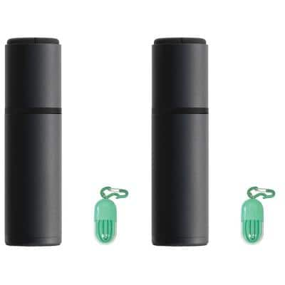 Black Insulated Wine Bottle Carrier with Bonus Reusable Straw 2-Pack