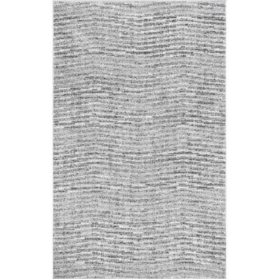 Sherill Modern Ripples Gray 10 ft. x 14 ft. Area Rug