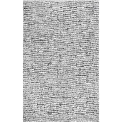 Sherill Modern Ripples Gray 3 ft. x 5 ft. Area Rug
