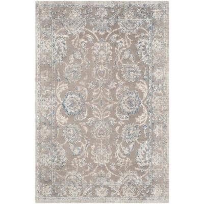 Patina Taupe/Blue 4 ft. x 6 ft. Border Area Rug