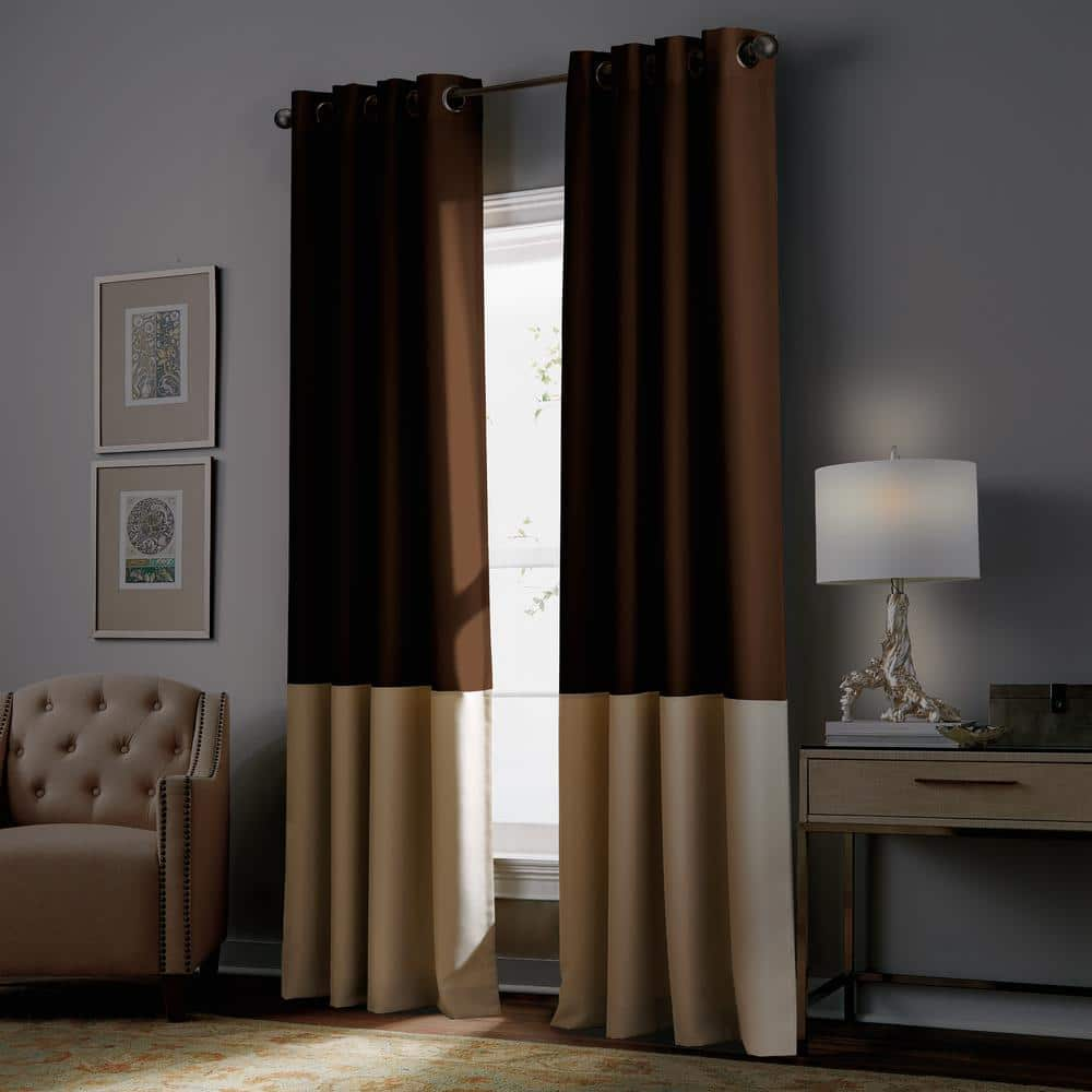 Curtainworks Kendall 50 In W X 108 In L Blackout Window Panel In Chocolate 1q806608ct The Home Depot