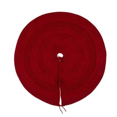 52 in. D Knitted Acrylic Red Christmas Tree Skirt