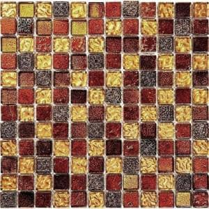 Gold and Beige 11.7 in. x 11.7 in. Square Polished Glass and Stone Mosaic Tile (4.75 sq. ft./Case)
