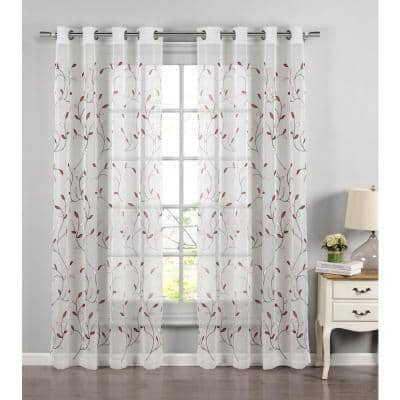 Rust Leaf Embroidered Grommet Sheer Curtain - 54 in. W x 84 in. L (Set of 2)