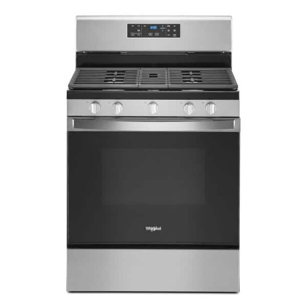 Whirlpool 5 0 Cu Ft Gas Range With Self Cleaning And Center Oval Burner In Fingerprint Resistant Stainless Steel Wfg525s0jz The Home Depot