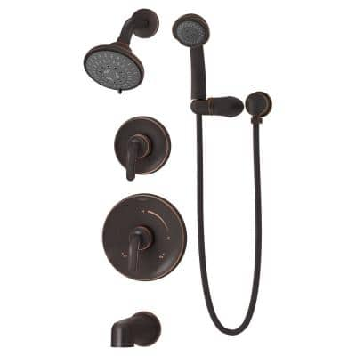 Elm 2-Handle Wall-Mounted Tub and Shower Trim with Hand Shower in Seasoned Bronze (Valves not Included)