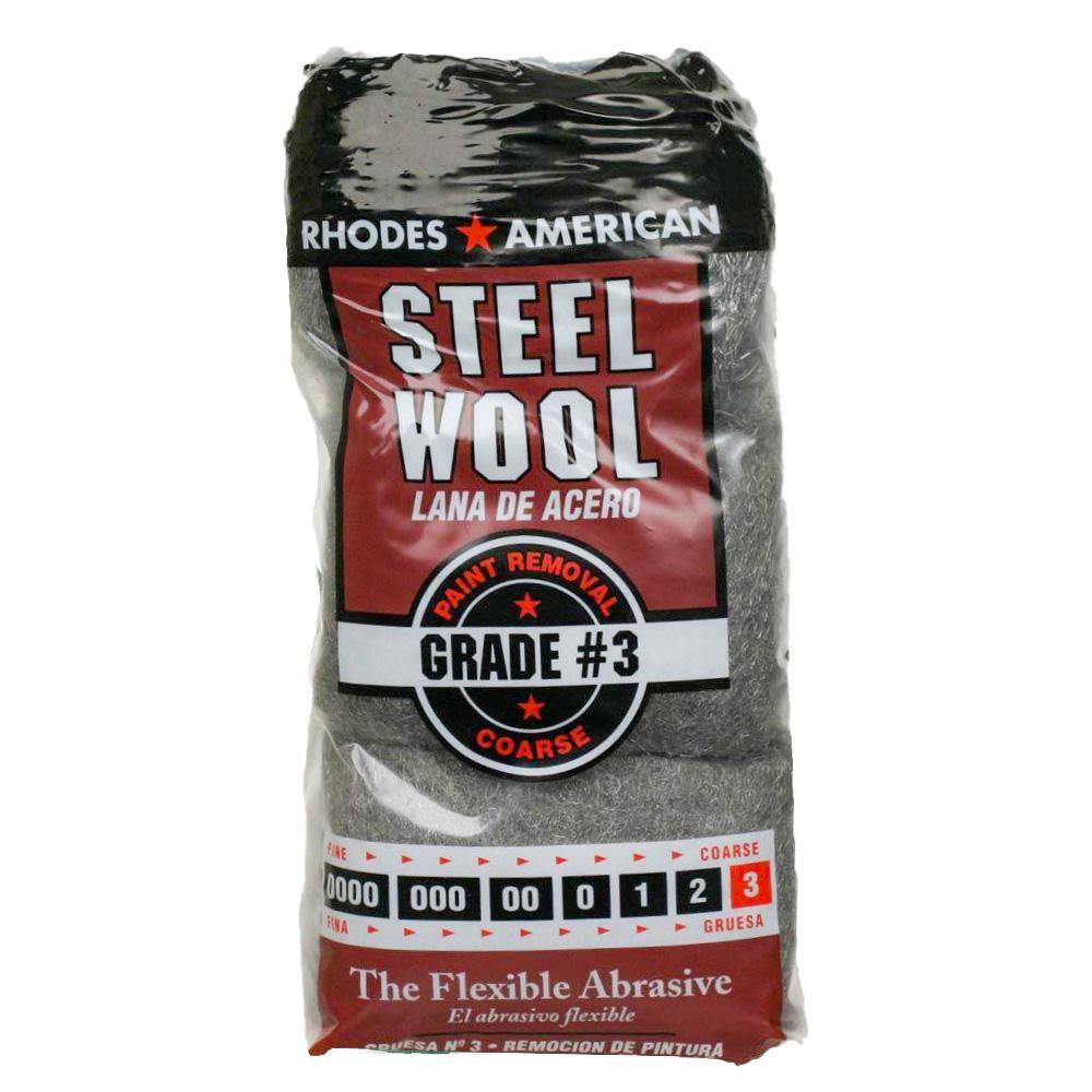 Coarse Grade #3 Steel Wool (12-Pad)