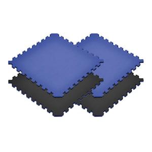 Dazzling Blue/Black 24 in. x 24 in. EVA Foam Truly Reversible Sport MMA Interlocking Tile (20-Tile)