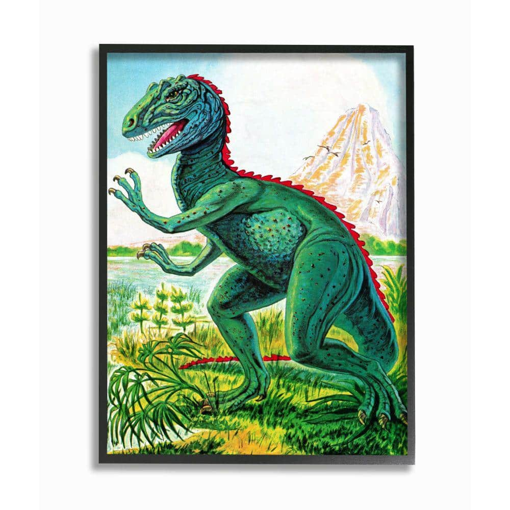 Stupell Industries 24 In X 30 In Dinosaur Field Red Green Kids Nursery Painting By The Saturday Evening Post Framed Animal Wall Art Brp 2507 Fr 24x30 The Home Depot
