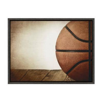 """Sylvie """"Vintage Half Basketball"""" by Saint and Sailor Studios 24 in. x 18 in. Sports Framed Canvas Wall Art"""