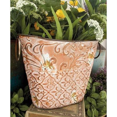 Multicolor Tin Oval Basket Planters with White and Rust Highlights and Loop Ring Handles (Set of 3)
