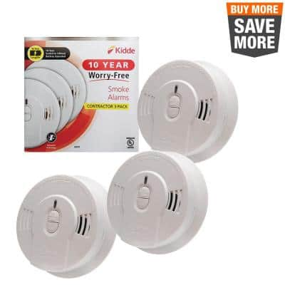 10 Year Worry-Free Sealed Battery Smoke Detector with Ionization Sensor (3-Pack)