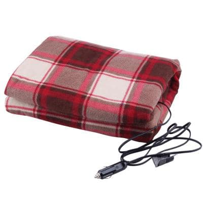 12-Volt Heated Travel Blanket in Red Plaid
