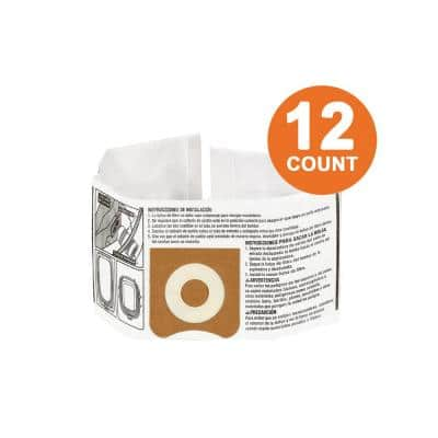 High-Efficiency Size C Dust Collection Bags for 3 to 4.5 Gal. and HD06001 RIDGID Wet/Dry Shop Vacuums (12-Pack)