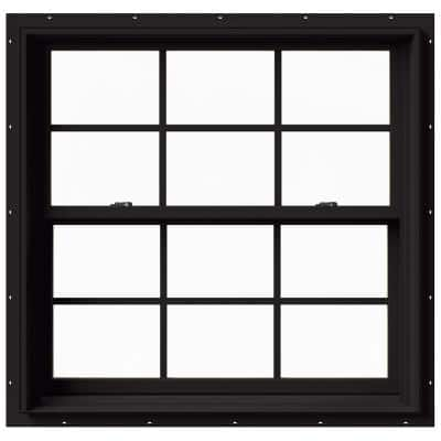 37.375 in. x 36 in. W-2500 Series Black Painted Clad Wood Double Hung Window w/ Natural Interior and Screen
