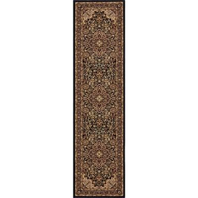Silk Road Black 2 ft. x 7 ft. Medallion Runner Rug