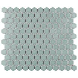 Tribeca 1 in. Hex Glossy Mist 11-7/8 in. x 10-1/4 in. Porcelain Mosaic Tile (8.65 sq. ft. /Case)