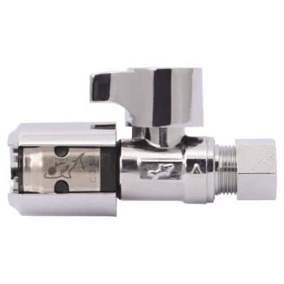 EVOPEX 1/2 in. Push-to-Connect x 3/8 in. Compression Quarter Turn Straight Stop Valve