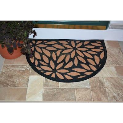 Synthetic Brown Petals 36 in. x 24 in. Rubber Back Half Round Door Mat