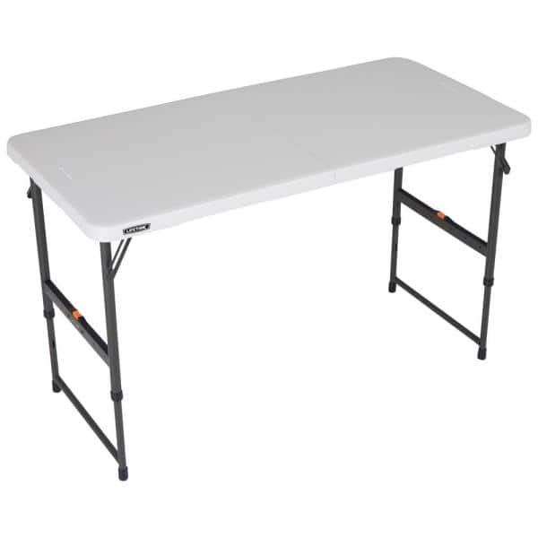 Lifetime 4 Ft One Hand Adjustable Height Fold In Half Table Almond 80726 The Home Depot