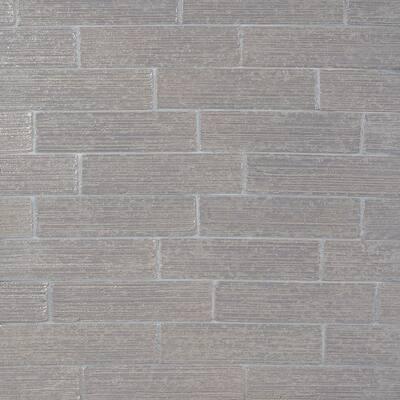 Rhythmic Stroke Polished Gray 2 in. x 9 in. Glazed Subway Clay Wall Tile (4.63 sq. ft./Case)