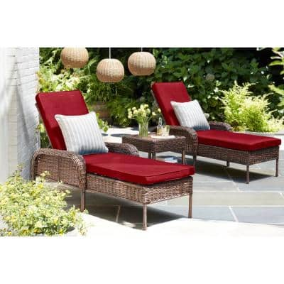Cambridge Brown Wicker Outdoor Patio Chaise Lounge with CushionGuard Chili Red Cushions