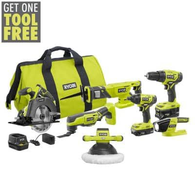 ONE+ 18V Cordless 6-Tool Combo Kit with (2) Batteries, Charger, Bag with 10 in. Orbital Buffer