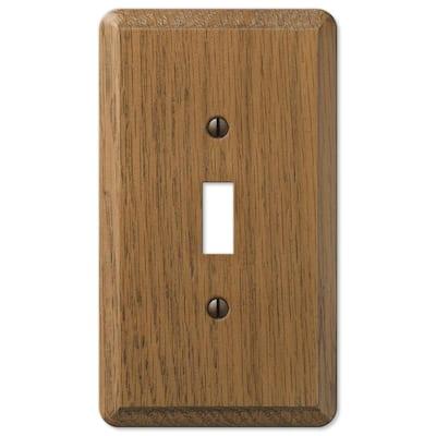 Contemporary 1 Gang Toggle Wood Wall Plate - Medium Oak