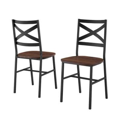 Angle Iron X-Back Dark Walnut Metal and Wood Dining Chairs (Set of 2)