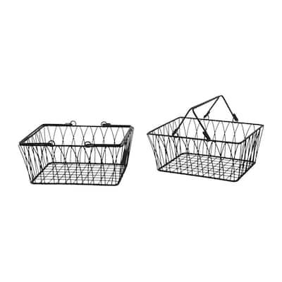 Twist 10 in. D x 11.125 in. W x 5.25 in. H Black Medium Basket in Steel (2-Pack)