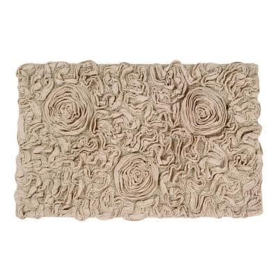 Bell Flower Collection Linen 24 in. x 40 in. Cotton Bath Rug