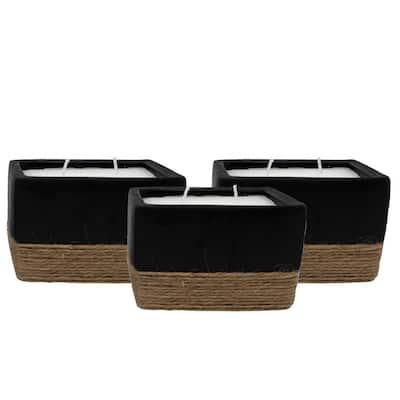 6 oz. Rectangular Ceramic Citronella Candle with Rope Accent (3-Pack)