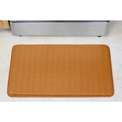 Diamond Weave 18 in. x 30 in. Faux Leather Anti Fatigue Gelness Kitchen Mat