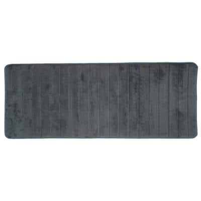 Silver 24.25 in. x 60 in. Memory Foam Striped Extra Long Bath Mat