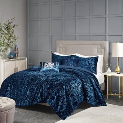 Muriel 5-Piece Teal Queen Polyester Faux Velvet Comforter Set