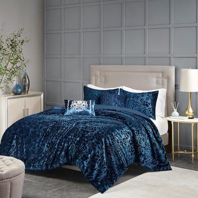 Muriel 5-Piece Teal King Polyester Faux Velvet Comforter Set