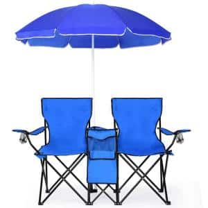 Blue Metal Folding Lawn Chair Camping Double Chair with Umbrella