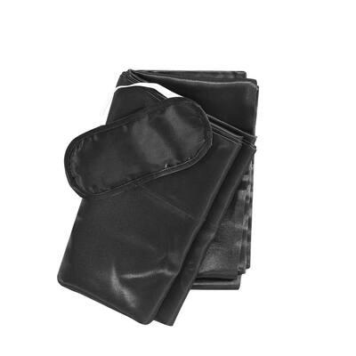 Betsey Johnson Solid Satin 3-Piece Black Microfiber Bonus King Pillowcase Set